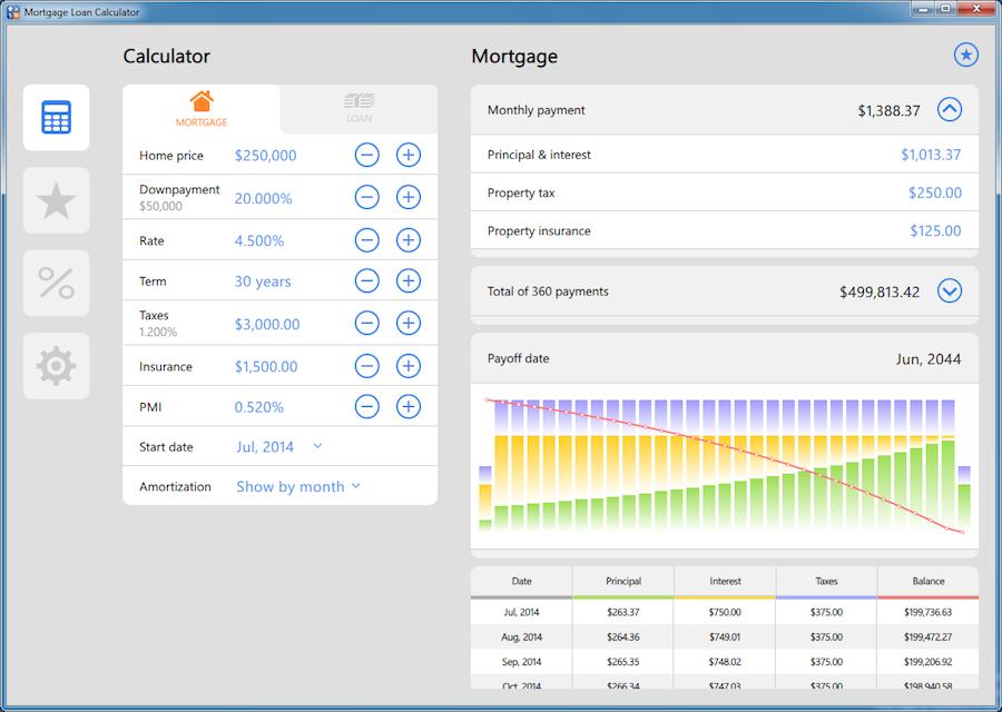 mortgage calculator app for windows 10