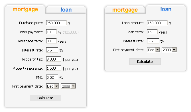 loan and mortgage calculator